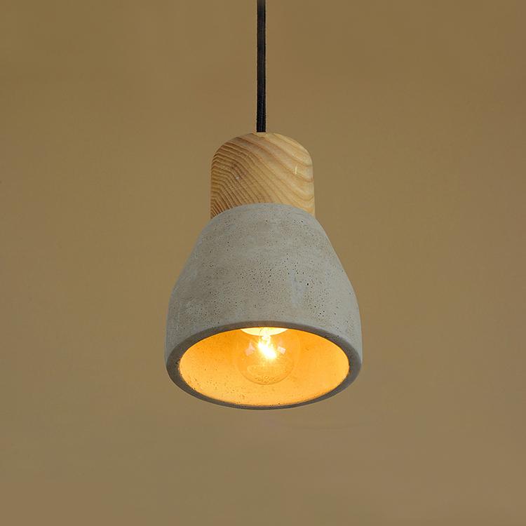 Wood Cement Pendant Light Chandelier Lamp
