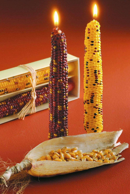 Autumn Harvest Corn Taper Candle Set Of 2