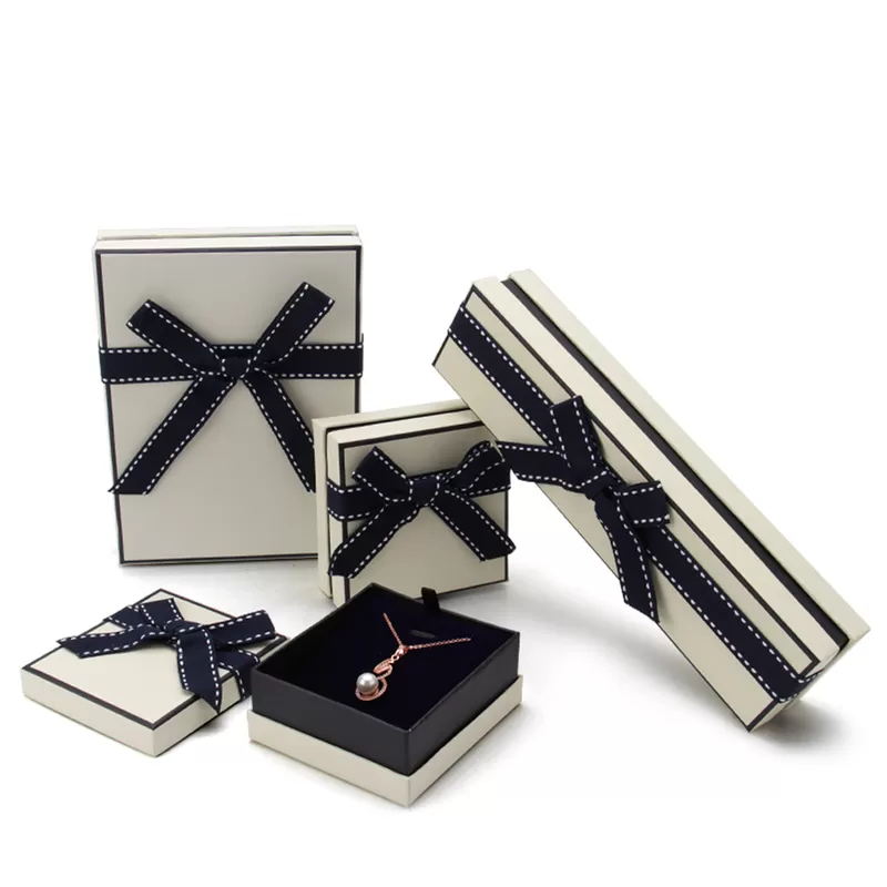 New Design Rectangle Fancy Cardboard Jewelry Box With Ribbon Bow Customized Size And Logo Urbrand