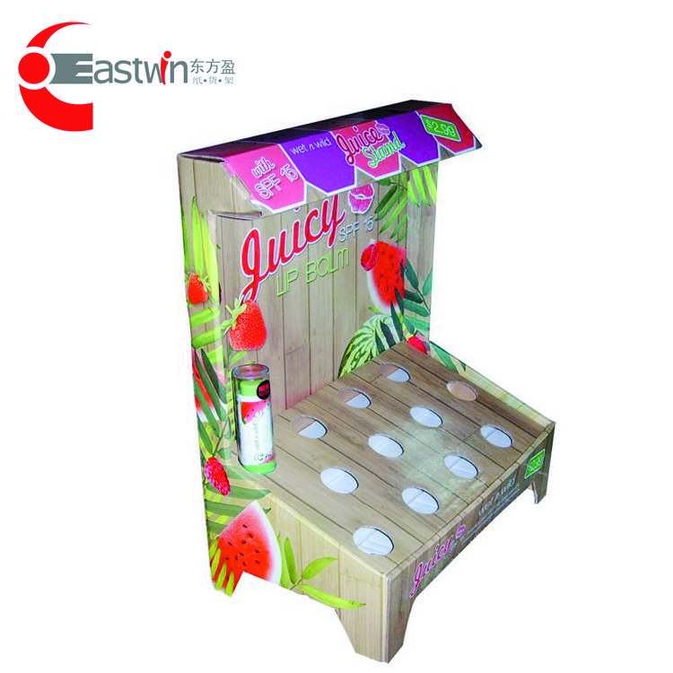 High quality with cheap price custom print and logo cardboard paper cosmetic display shelf