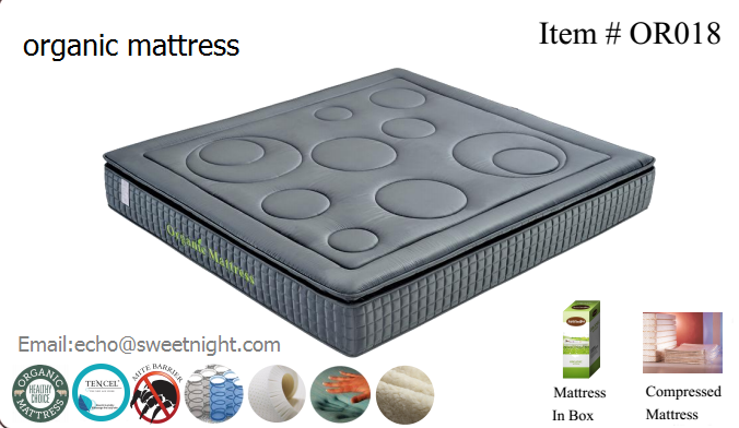 New design pillow-top organic mattress, high quality queen king size pocket spring