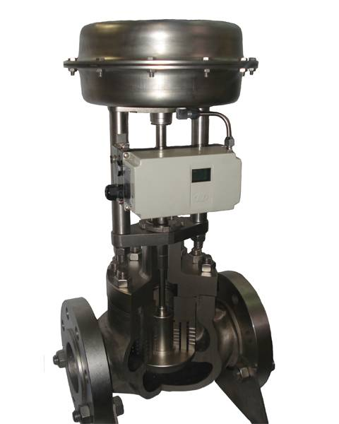 Three-way globe control valve