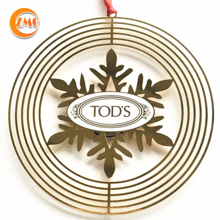 high quality promotional gifts customized logo printed metal spinner ornaments