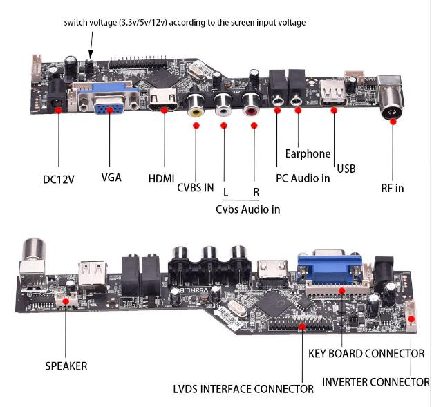 V53 universal TV lcd control board 10-42inch lvds driver board VGA AV HDMI