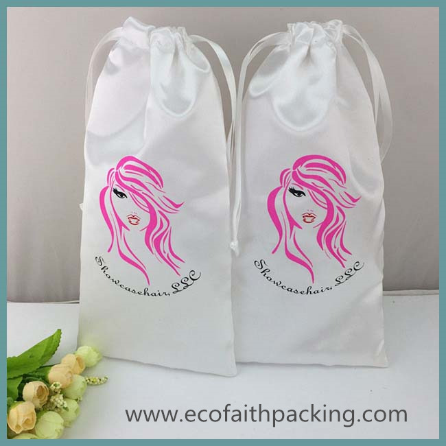 satin hair extension bag, satin hair package bag