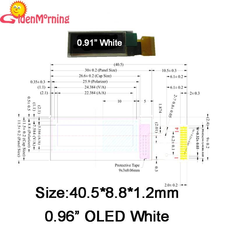 0.91'' OLED display module, 128 x 32 px resolution, white characters in black background, 14-pin