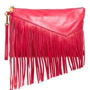 Fashion ladies' clutch bag made of PU,front decorative fringe,zip top closure