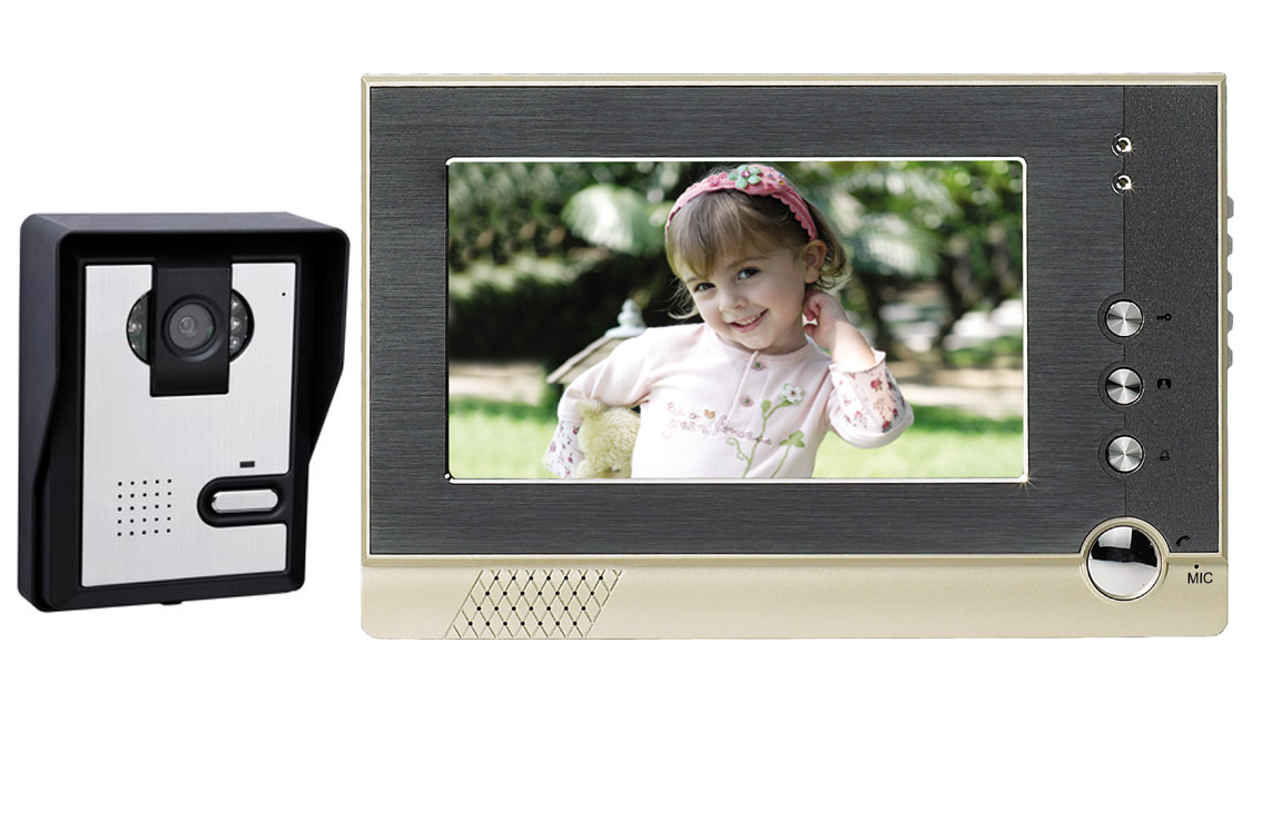 "Wireless video door phone intecome 7"" LCD visual door camera phone"