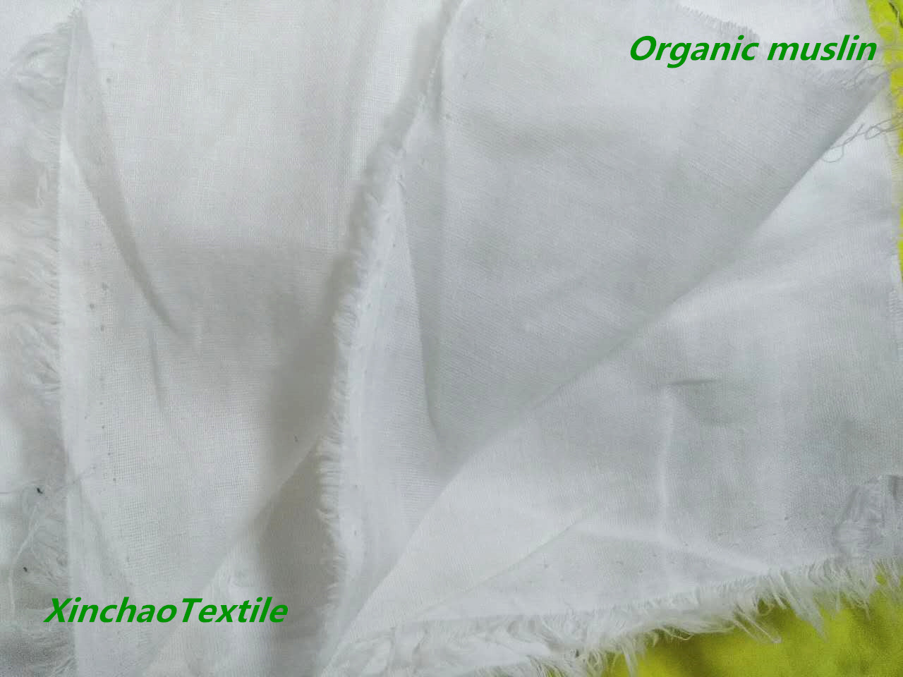 Double Layers GOTS Organic Cotton Muslin Fabric for Baby Swaddle