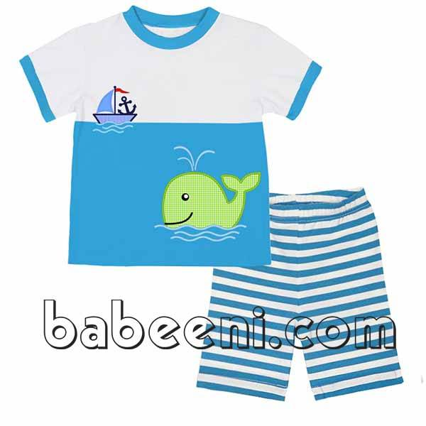 Whale and sailing boat outfit for boys - BB541