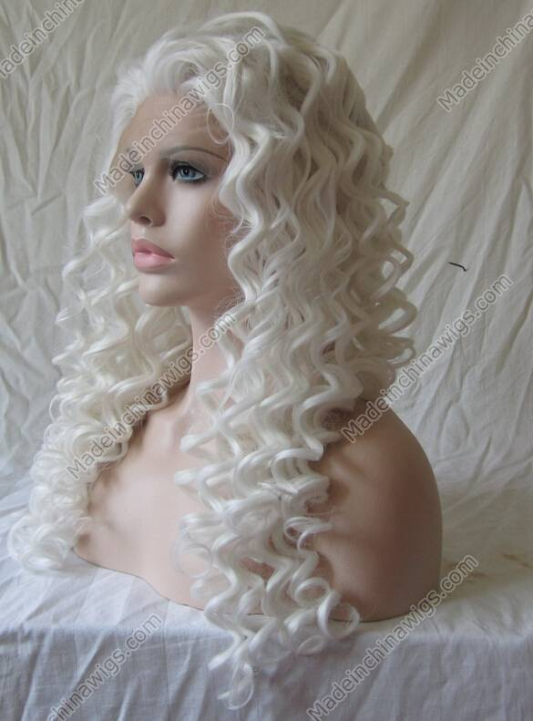 White Long Curly Synthetic Lace Front Wig For Lady