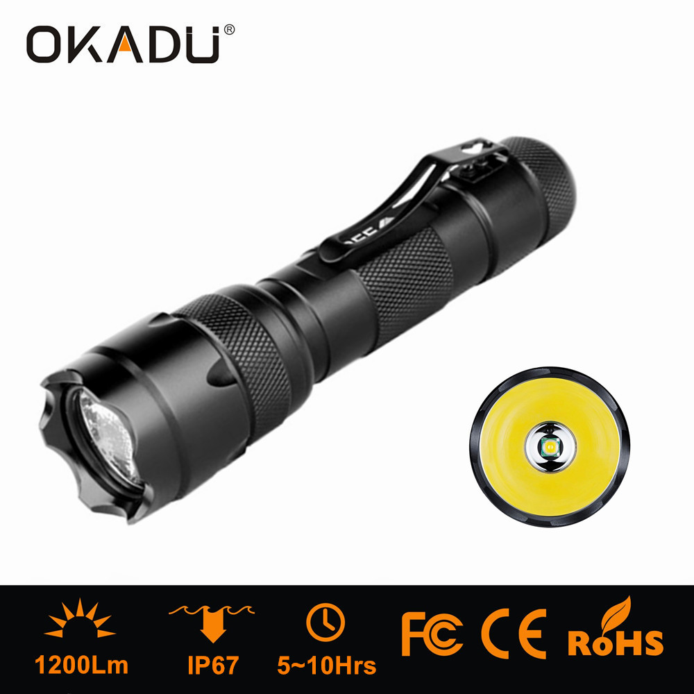 OKADU 502B Small Police Security LED Flashlight Rechargeable Cree T6 LED Police Torch with Pen Clip