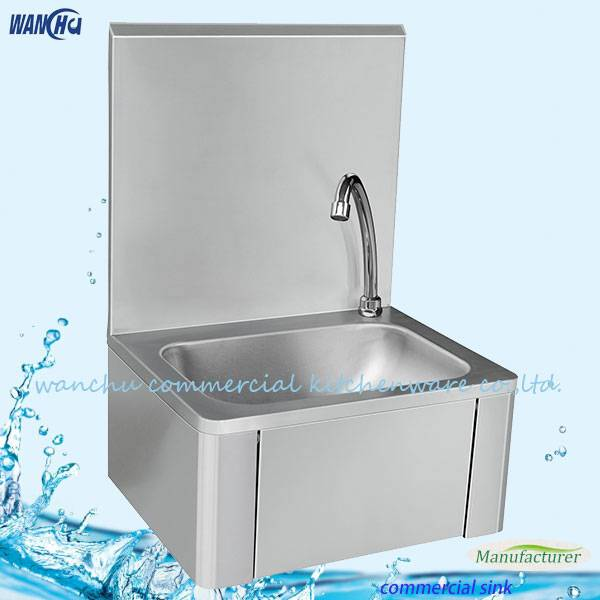 Stainless Steel Knee Operate Hand Washing Sink With High Splashback