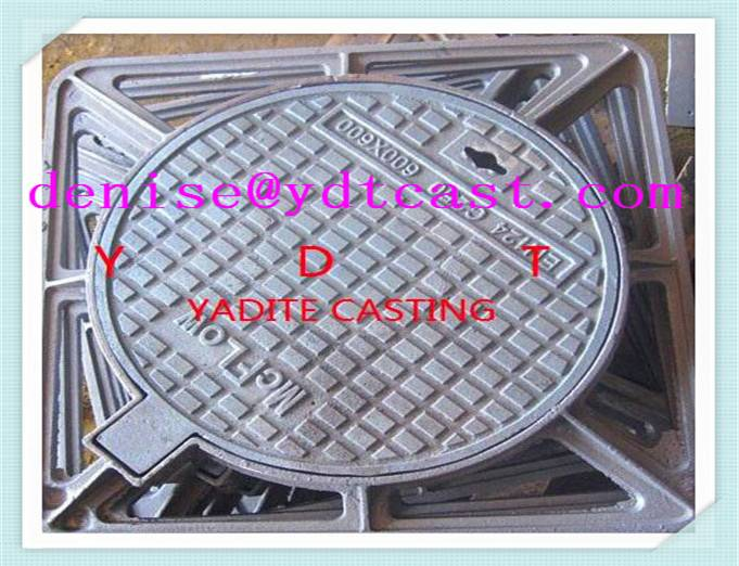 Square and round ductile iron cast manhole cover with frame forged sealed hatch cover