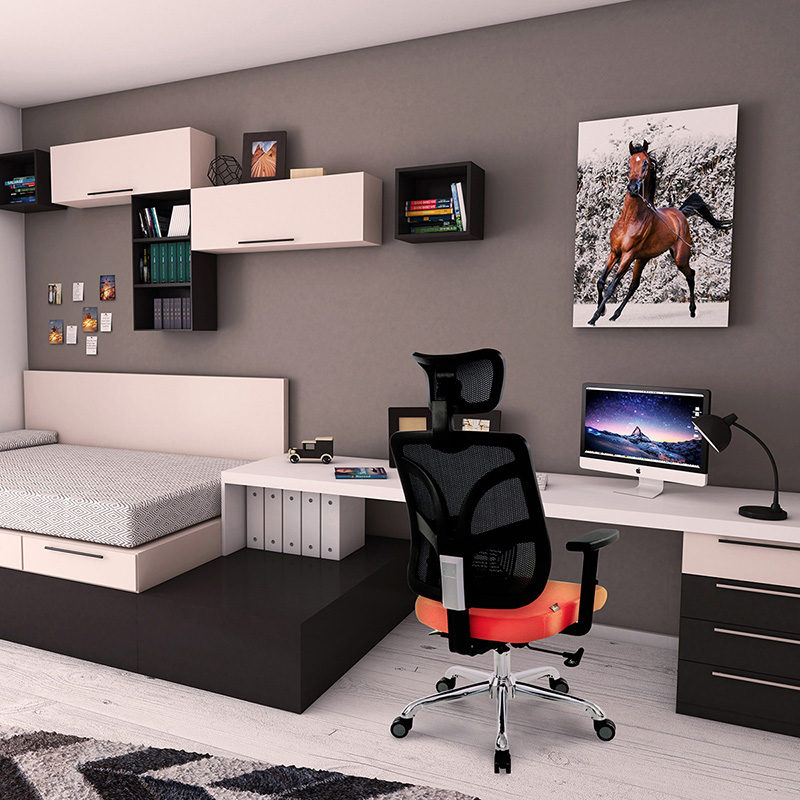 Orange Mesh Back Office Chair