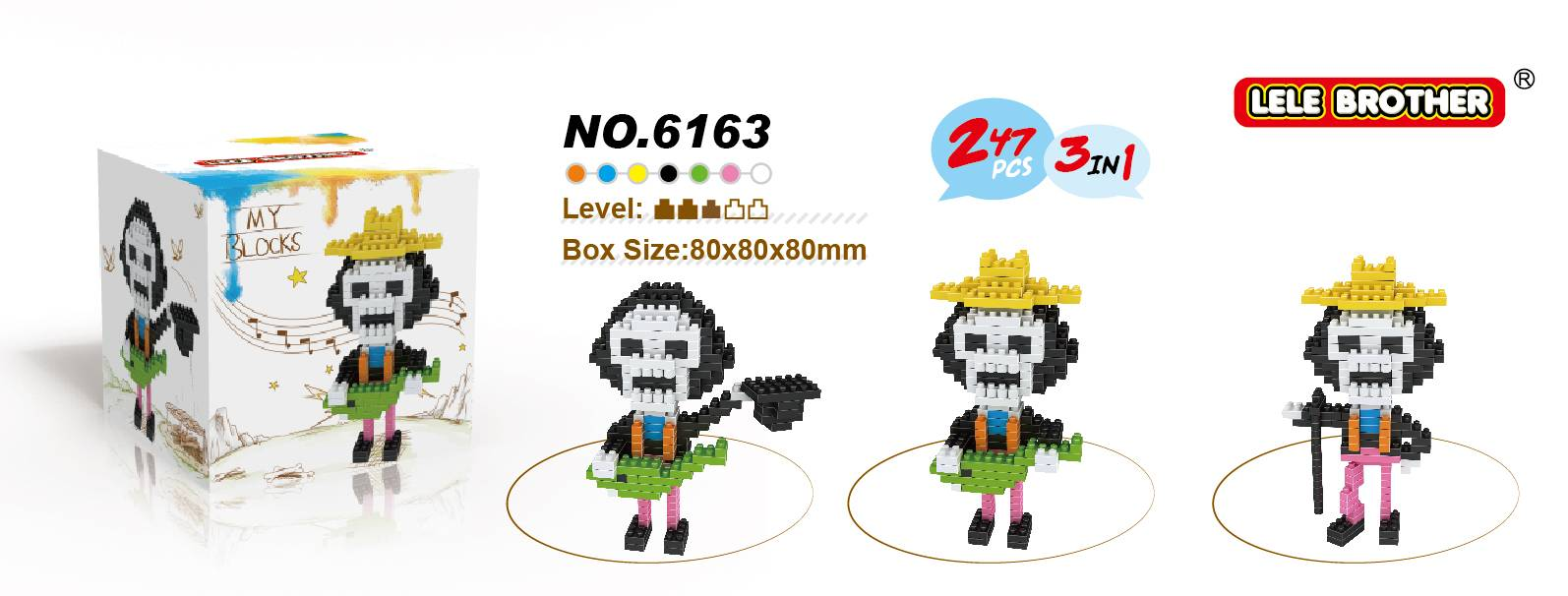 Lele Brother Diamond Block One Piece Series Brook 3 in 1 New Item 2015