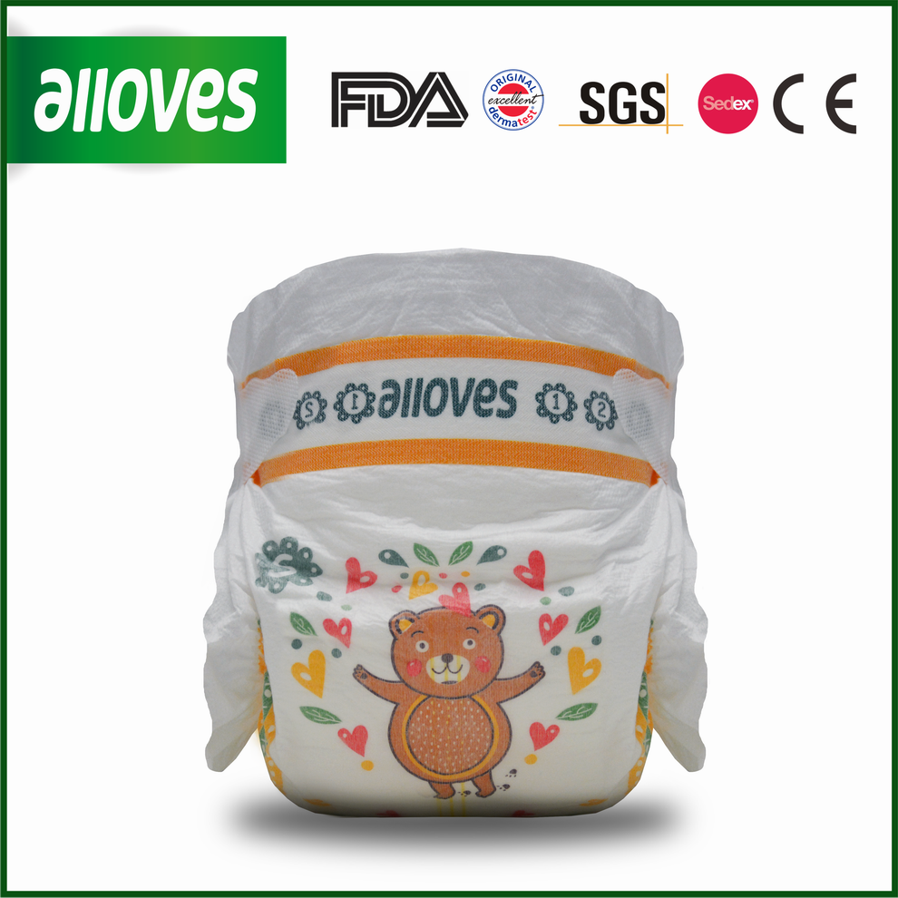 Alloves baby disposable diapers lovely bear design comfortable diapers for babies