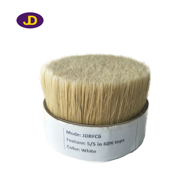 60% tops natural white boiled pig bristle mixed synthetic filaments