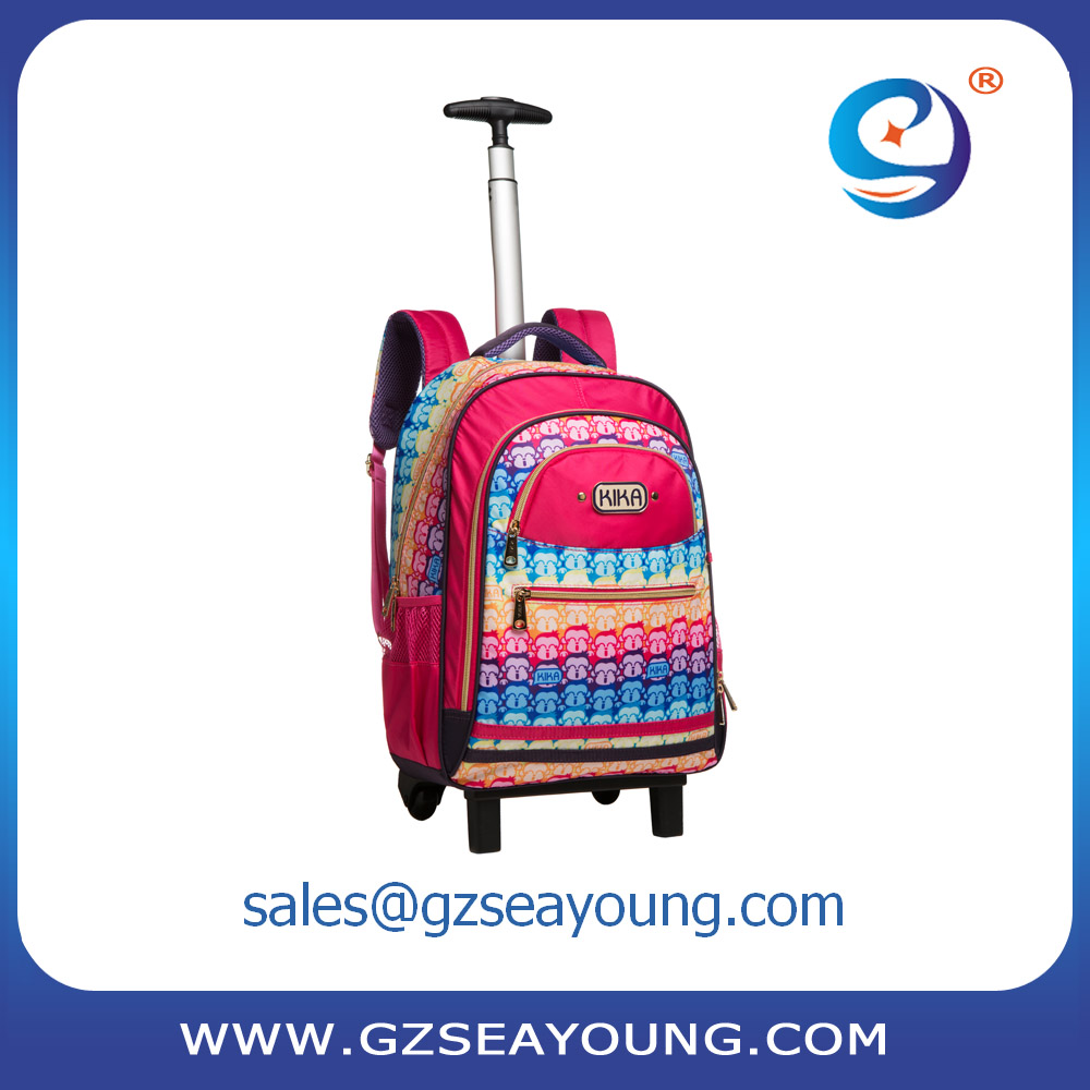 New product kid multipurpose fancy pink girls trolley school bag