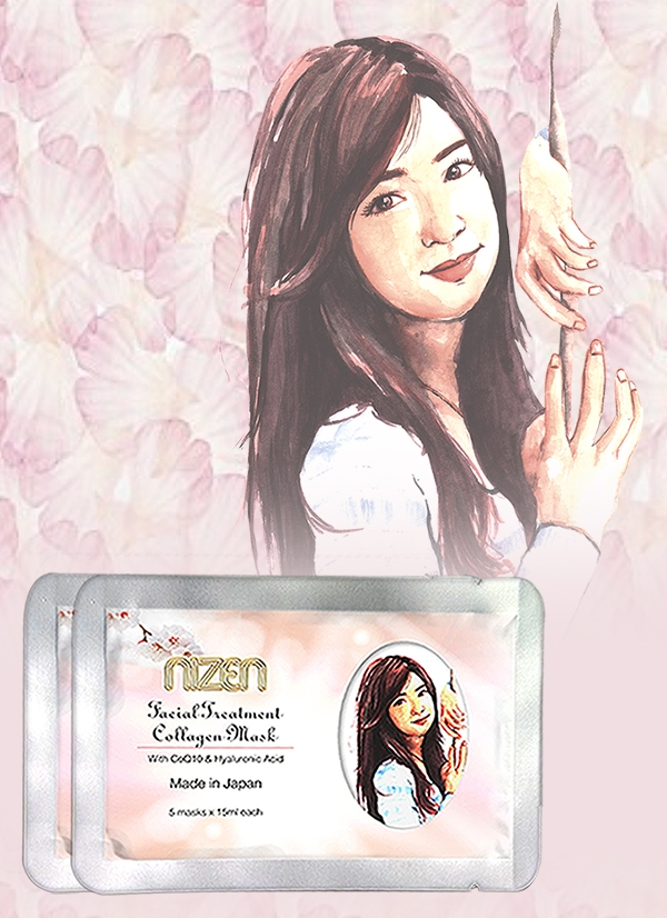 Collagen Face Masks Nizen with Hyaluronic acid. For moisturized and light skin. Made in Japan