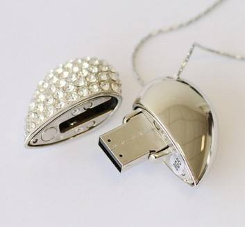 Sell Beautiful Shining Rhinestone Jewelry Heart USB Flash Drive Disk for Girl's Gift