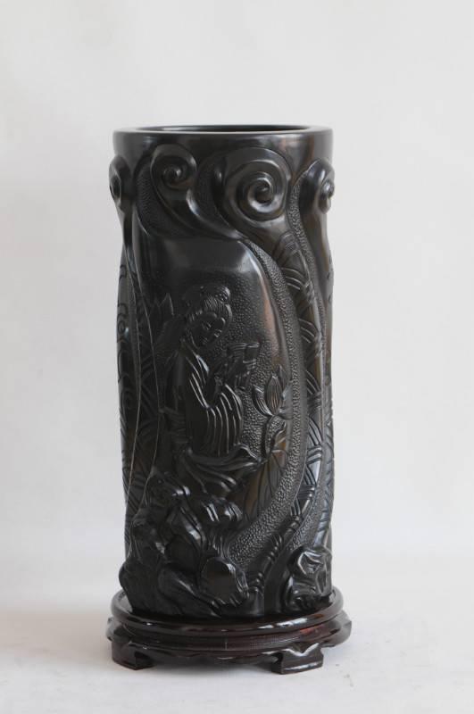 Shandong Longshan black pottery pottery ornaments ancient ceramic handicraft,relief (sculpture)