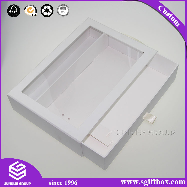 White Color Cardboard Drawer Packaging Gift Display Box with Gold Handle