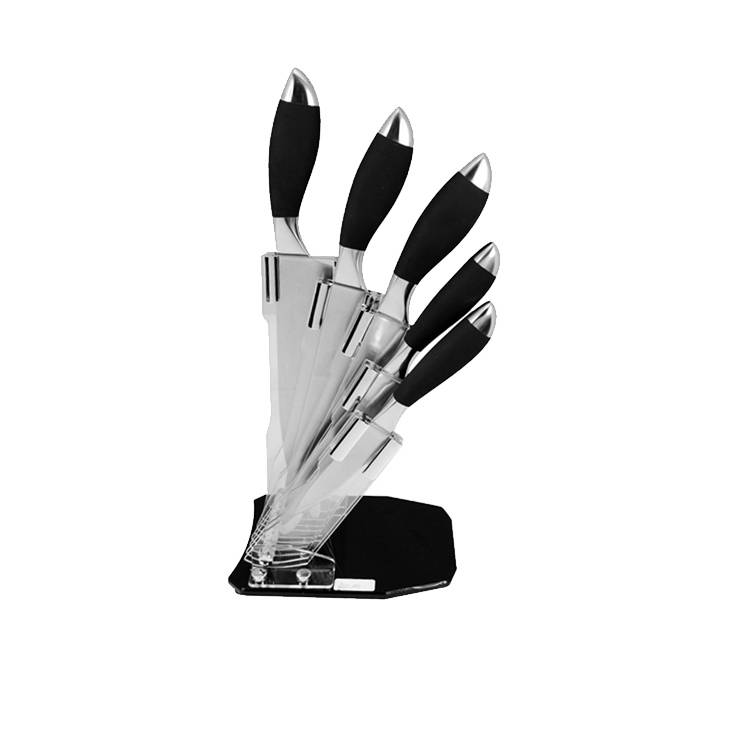 Superior quality stainless steel kitchen knife set with hollow handle+TPR coating