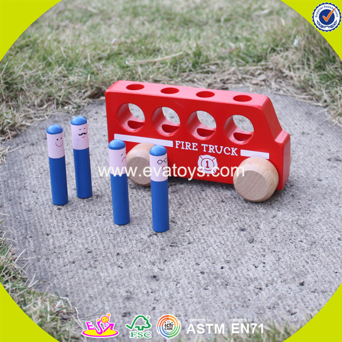 2017 wholesale baby wooden mini car toys cheap kids funny children W04A260