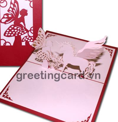 Horse angel 3D pop up greeting card