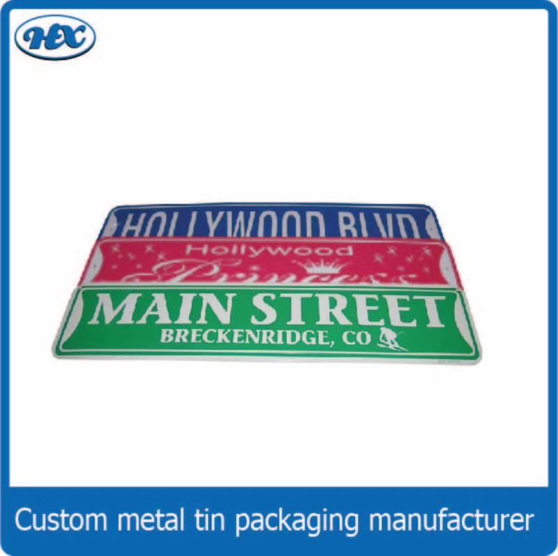 Long rectangle tin sign