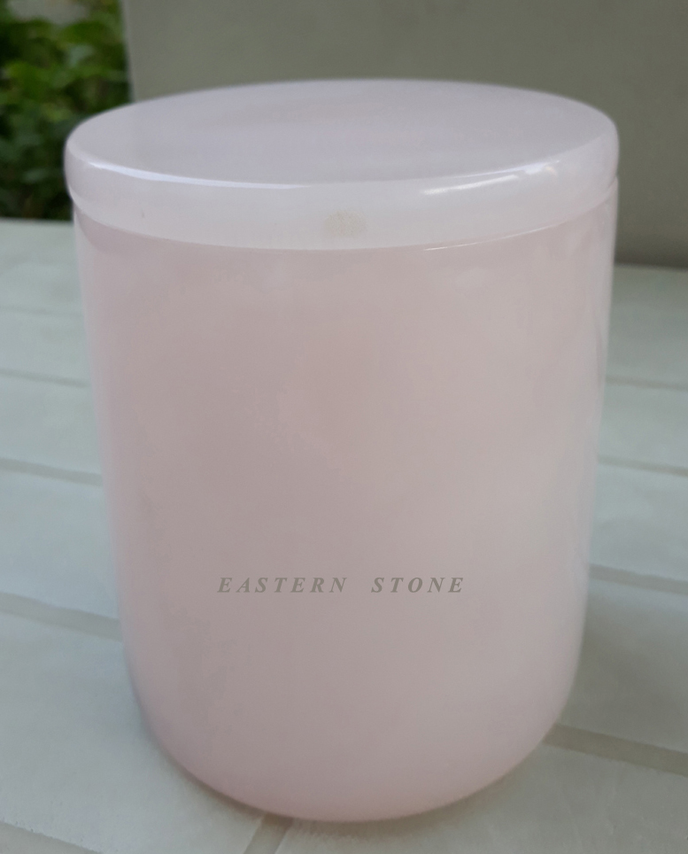 PINK ONYX CANDLE JARS, PINK ONYX URNS, PINK ONYX HEARTS