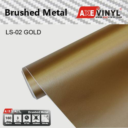 Axevinyl Factory Direct Sale Car Wrap Vinyl Premium Quality Gold Brushed Metal Vinyl Wrap Film 1.52X