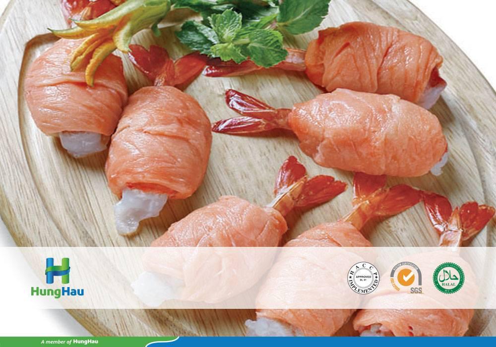 Salmon covered on PTO shrimp