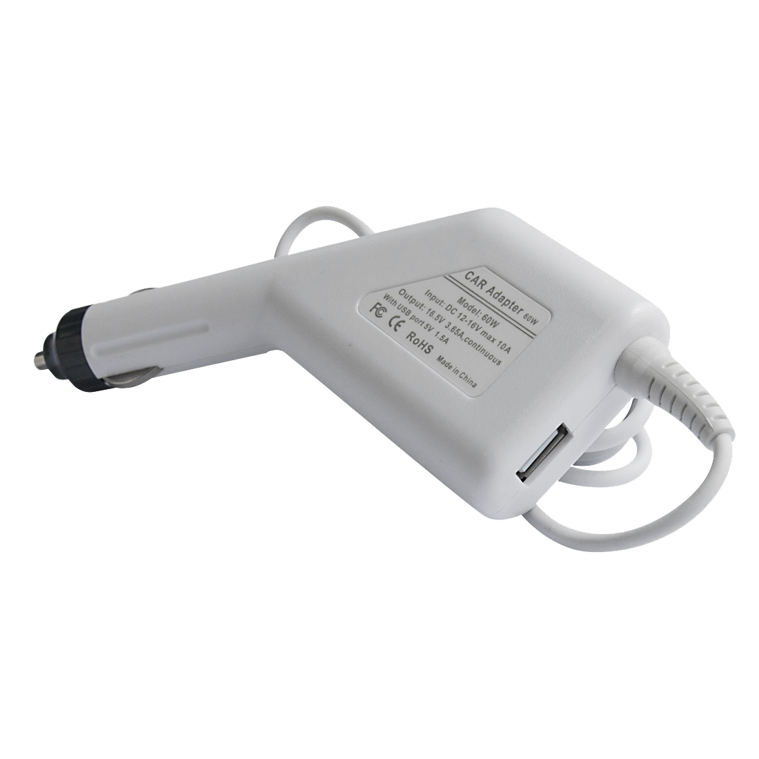 60W Laptop in-Car Adapter with USB for MacBook