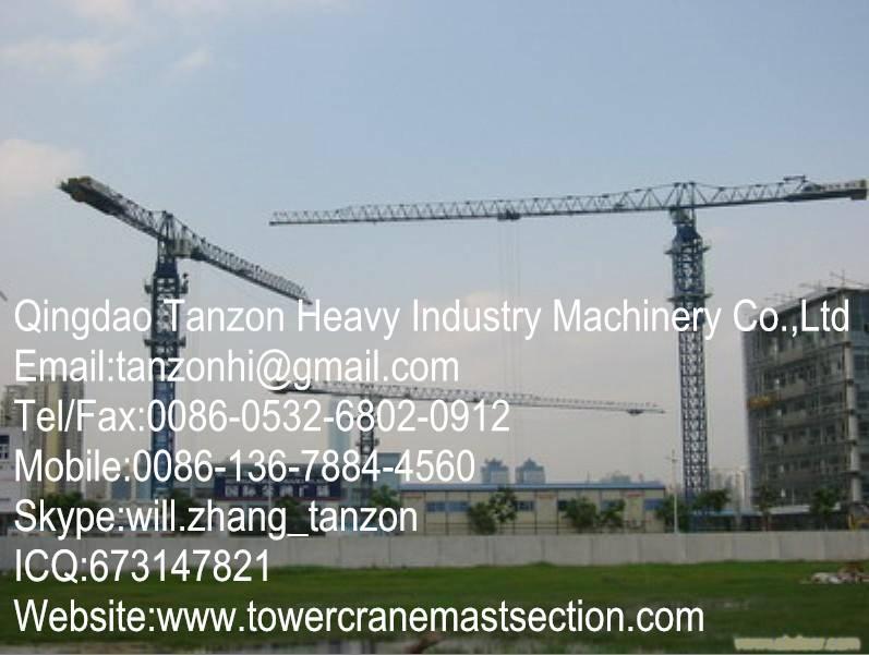 TCP6512-10 Leg Fixing Type Flat Top Tower Crane,China Machinery Manufacturer Q345B Steel