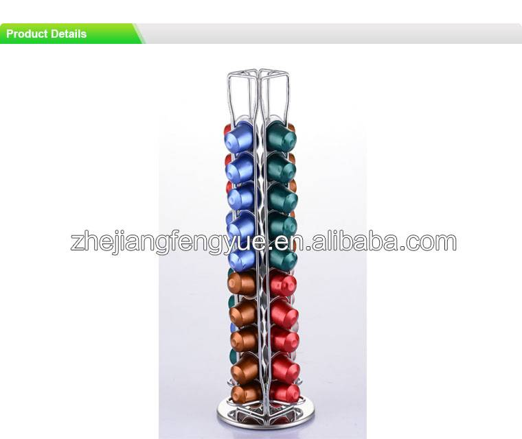 40pcs 360 degree rotating chrome plating coffee capsule holder