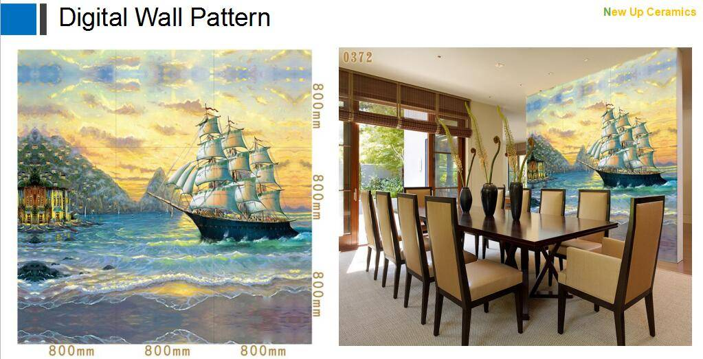 ship sailing digital inkjet printing decoration background wall tiles for dinning room and bedroom
