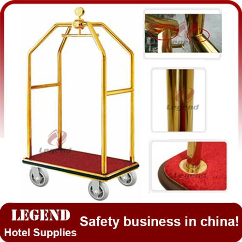 Titanium gold coated stainless steel concierge birdcage Bellman Used hotel luggage cart