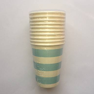 Wholesale colorful custom Light Blue Candy Stripe paper Cups