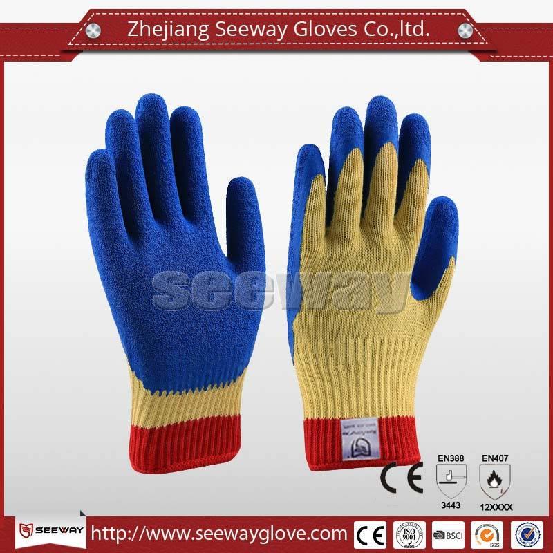 SeeWay B505 level 4 Blue latex coated heavy work Cut resistant glove best price