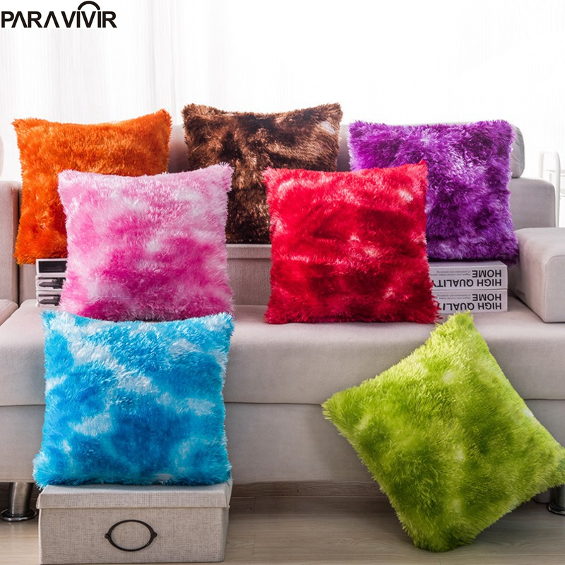 Pillow Case Soft Plush Candy Color Decorative Cushion Cover 1717 inches Removable Throw Pillow Case
