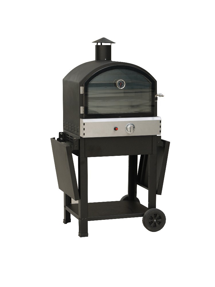 Trolley smoker gas grill with pizza oven outdoor used gas