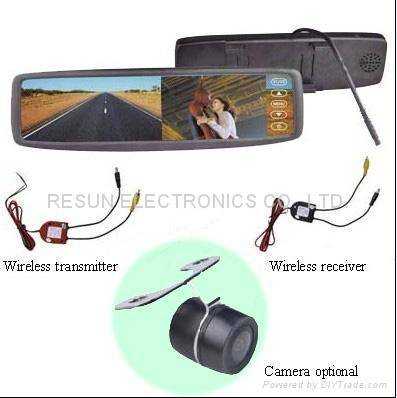 """2.4GHz Wireless Car Rear View Camera System With 4.3"""" Mirror LCD Monitor"""