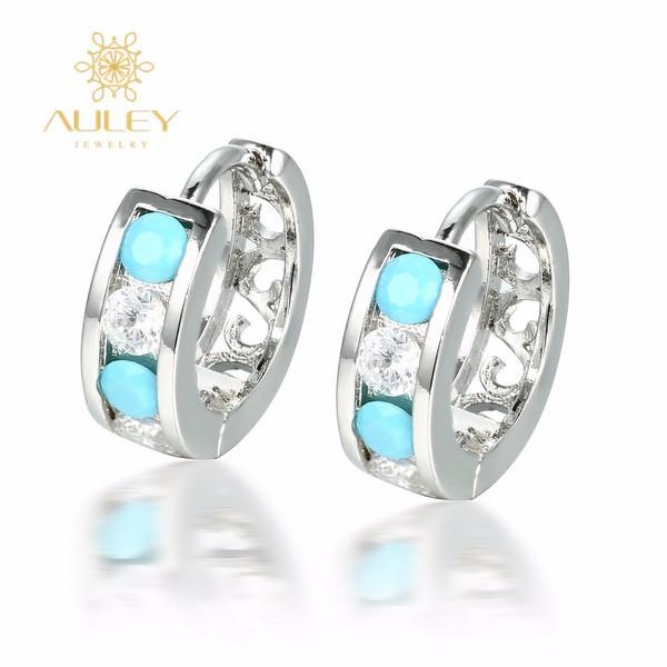 Blue zirconia stone 925 silver women fashion design clip on elegant earrings
