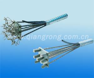 Compressing fitting and cotton strands system anchorage