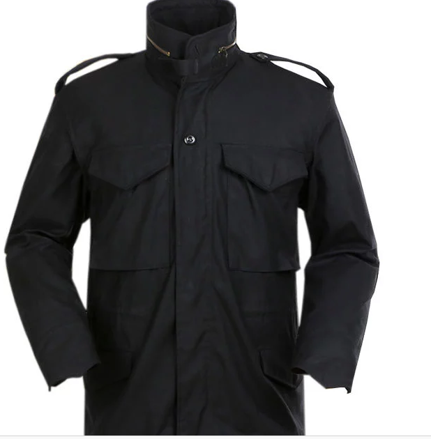 M65-Unisex Parka Jacket with Detachable Warm Lining Military Waterproof Black Color M-65 Field Coat