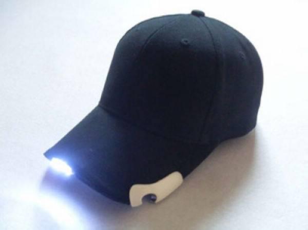 black plain 6 panel baseball cap with open bottler and led light
