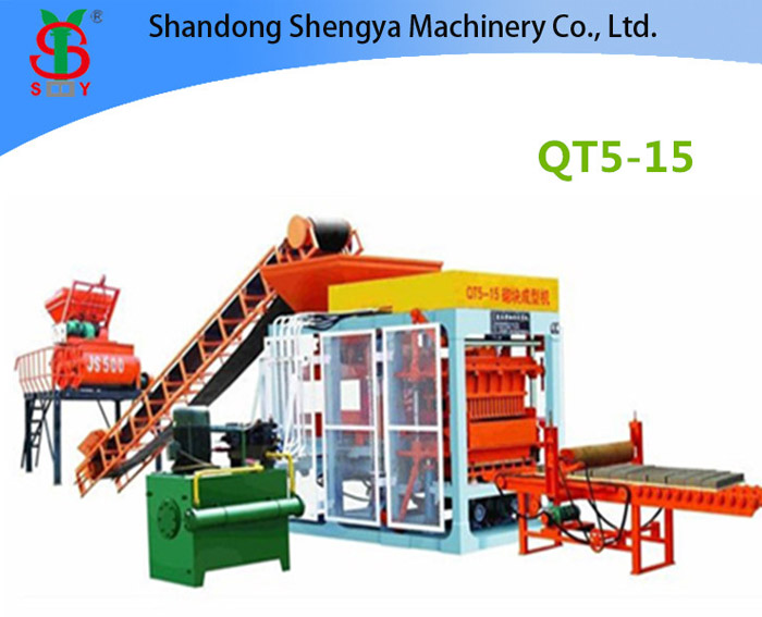 QT5-15 Full automatic hydraulic concrete block production line for cement blocks and interlocking br