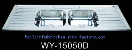 double bowl kitchen sink with double bowl double drain board 15050